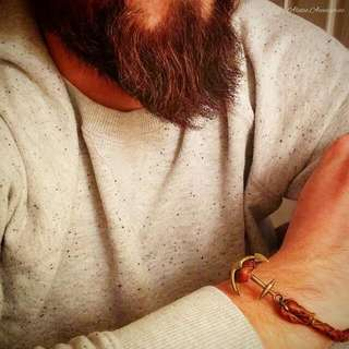 Men's Anchor Leather Bracelet