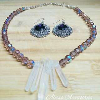 Woman's Necklace. Purple Crystal  Beads. Opaque Crystal Glass Randell Clear Coral Sticks. -Purple Crystal Earrings.