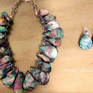 Natural Blue, Green, Rainbow Abalone Rustic Teardrop Shell Necklace. Matching Earrings.