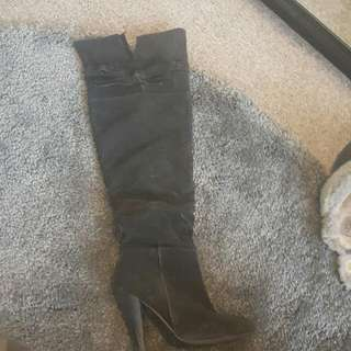 FAUX SUEDE THIGH HIGH BOOTS.
