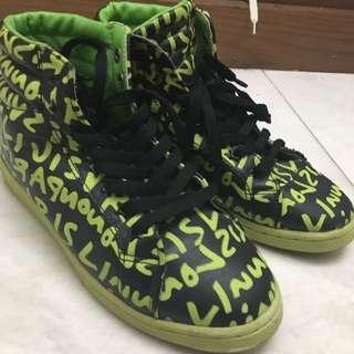 螢光綠草寫子母皮革休閒時尚高筒女鞋38號