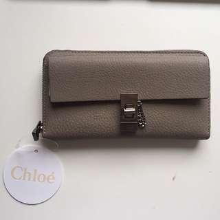 Chloe Drew Long Leather Zip Wallet In Motty Grey