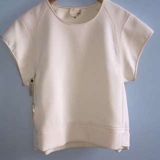 Wilfred white neoprene crewneck cap sleeve crop shirt
