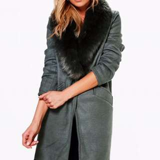 Khaki Trench Long Coat With Fur