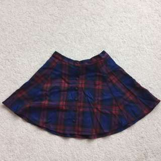 forever 21 button up plaid skirt