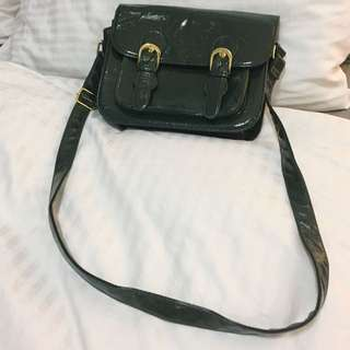 Dark Green Roomy Shoulder Bag With Adjustable Straps