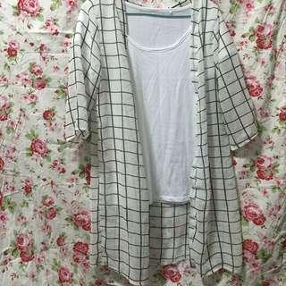 七分袖雪紡長版罩衫