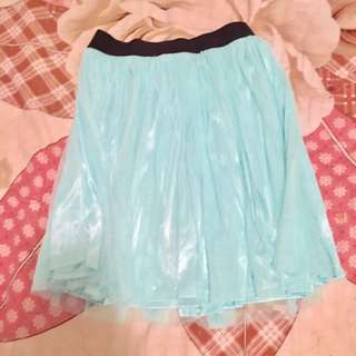 Baby Blue Flowy Pleated Skirt