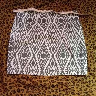 Gray and White Aztec skirt
