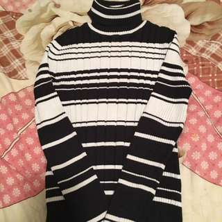 Black And White Stripped Turtleneck Sweater