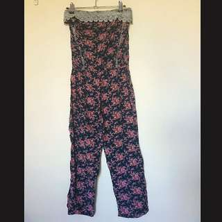 PARIS Strapless Floral Playsuit Size Small
