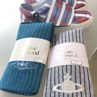 夏趴。帶回Vivienne Westeood 時尚百搭刺繡褲襪(灰/藍綠)