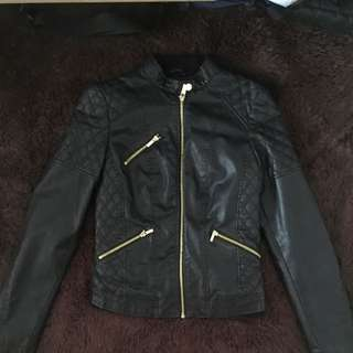 BERSHKA Ori Leather Jacket Black