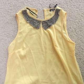 Yellow Top With Jewelled Collar