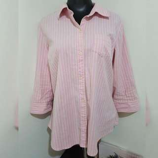 OLD NAVY pink striped 3/4 polo