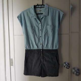 TOPSHOP MOTO chambray x denim buttondown romper