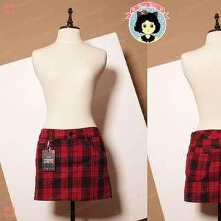 Plaid Denim Mini Skirt