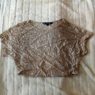 Gold Sequin Lace Croptop