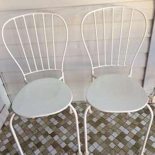 2 Vintage Metal White Chairs