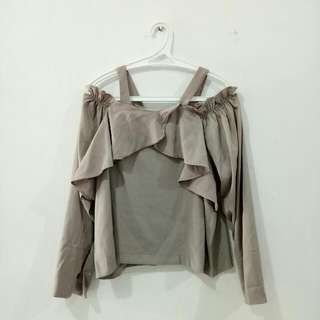 (REPRICED) Atasan Sabrina Dusty Pink/Grey Top