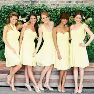 BRAND NEW-Pastel Yellow Convertible Dress