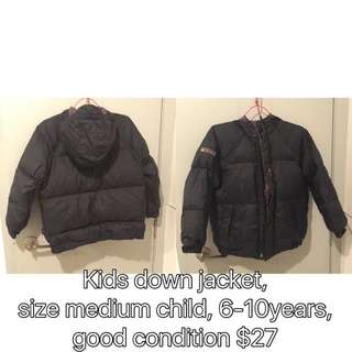Kids down jacket, size medium child, 6-10years, good condition $27