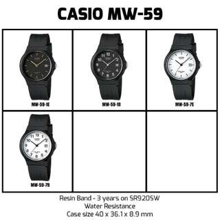 [Ready Stock] Casio MW-59 MW59 MW 59 1E 1B 7E 7B Unisex Men Ladies Classic Simple Black Resin Analog with Date Display Watch New