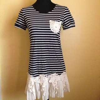 Stripe Dress With Lace