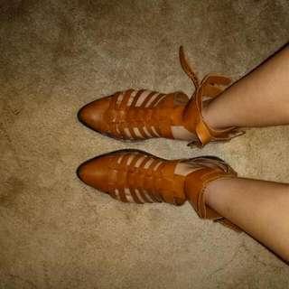 Tan Boots Like Sandals