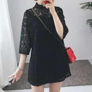 韓版簍空蕾絲洋裝