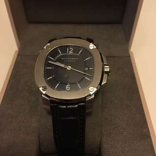 New Burberry THE BRITAIN Black Alligator Leather Men Automatic Watch BBY1200