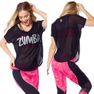 Preloved Zumba Mesh Black Tulip Top Sz S