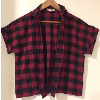 Flannel Button Up Cropped Top