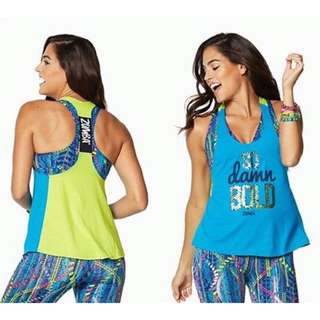 Preloved Zumba So Awesome Blue Loose Tank Sz M