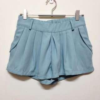 轉賣~特殊藍綠色前打折西裝短褲裙