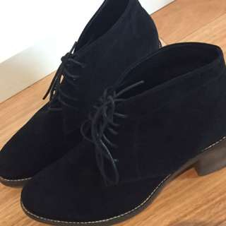 Midas Black Suede Leather Ankle Boots - Size 39