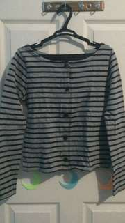 Grey And Black Stripes Long Sleeves