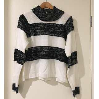 Black and White Striped Knitted Jumper
