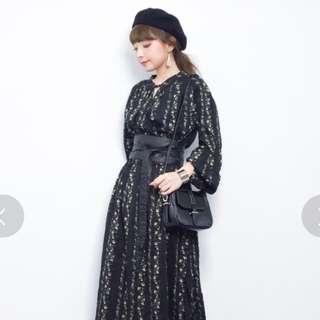 日牌 free's mart 黑色碎花長版縮腰洋裝 連衣裙