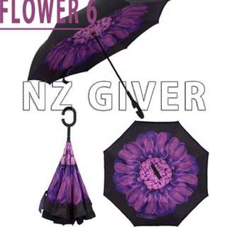 C Handle Reverse Umbrella- Flower 7