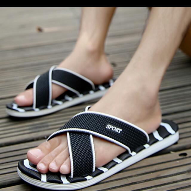 1ab4fa3c49d 2017 Famous Brand Designer Casual Plaid Stripes Men Sandals Slippers ...