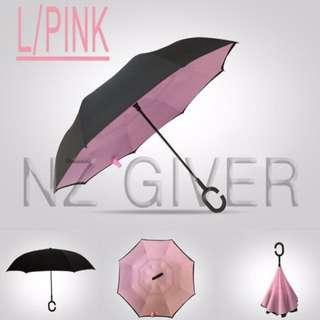 C Handle Reverse Umbrella- Light Pink
