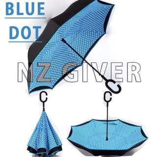 J Handle Reverse Umbrella- Blue+Dot