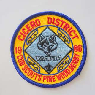 Retro 1980's Scout Badges, Rare Military Patches, Vintage Collectibles, Cicero District, Cub Scouts Pine Wood Derby 1986, from USA, Limited Edition