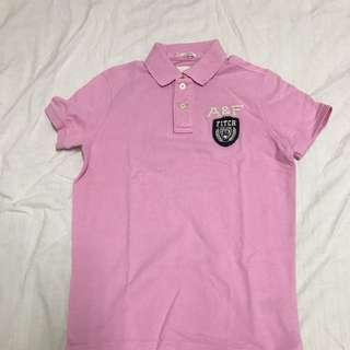 A&F 男性POLO 👕 粉色S號