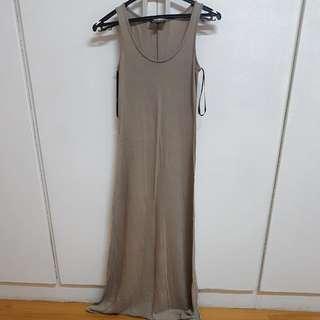 Warehouse Basic Long Gray Dress