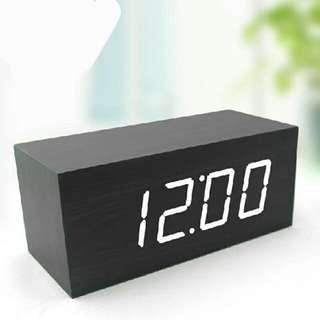 Black Wooden LED Clock