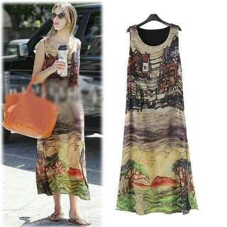 Summer 3D Print Slit-cut Chiffon Dress  Chiffon fabric, with lining, 2-layer design, Slit-cut design at side to make the stylish look Free size fits small to large Pm For Pricing