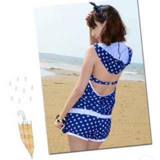 [Free Postage] Set Of Blue Star Swim Suit 3 Pcs