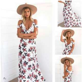 White Floral Cold Shoulder Long Slit Maxi Dress